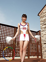 Yuuri Shiina Asian has hot curves in cheerleader outfit and heels