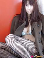 Asana Mamoru Asian takes coat off and exposes generous hooters