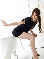 Risa Aika Asian with sexy legs shows pussy in thong erotically